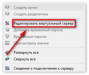 Выберете пункт «Редактировать виртуальный сервер»