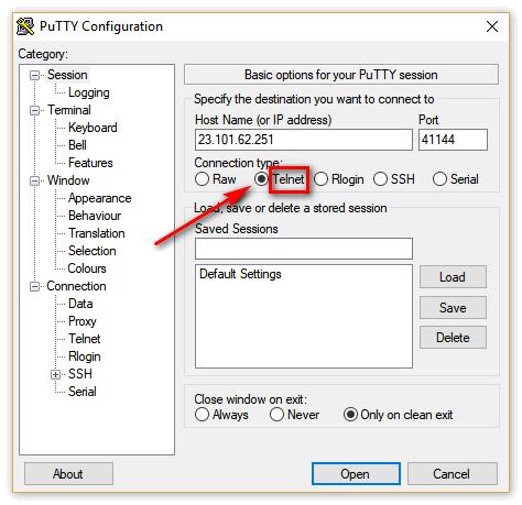 Чуть ниже располагается Connection type: Telnet.
