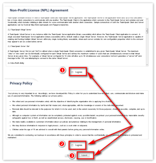 Условия лицензионного соглашения TeamSpeak 3