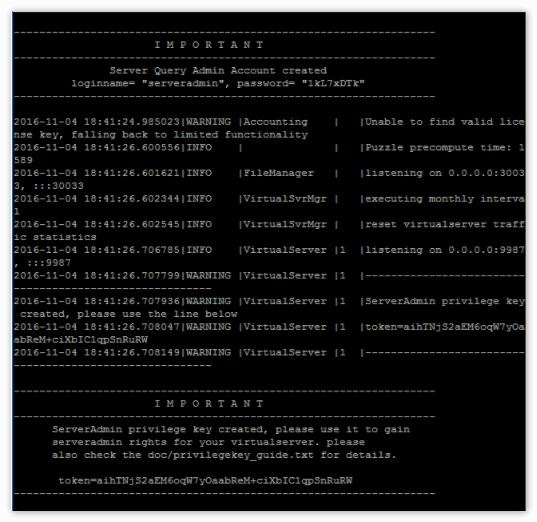 Основные данные для входа на сервер TeamSpeak