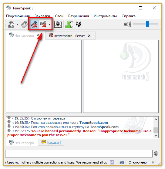 Перед подключением к серверу отключаем микрофон и колонки в верхнем тулбаре, после успешной инициализации - включаем