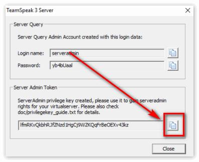 Скопировать токин к серверу от ТС3