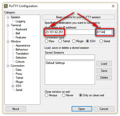 Возле Host Name набираем 23.101.62.251 port — 41144.