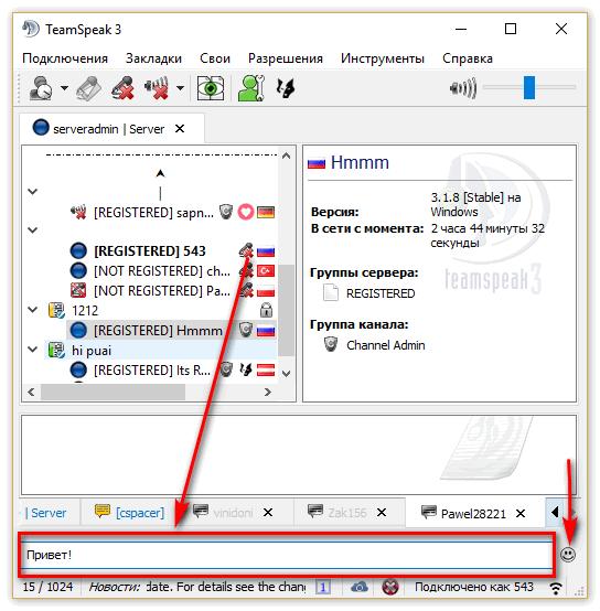 """""""введите сообщение"""" - сюда вы вводите сообщения, справа изображен смайлик - кликнете по нему и вы откроете меню доступных стикеров."""