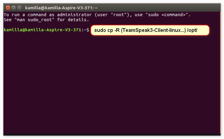 "Открываем терминал через ""ctrl + t "" и вводим: ""sudo cp -R (TeamSpeak3-Client-linux...) /opt/"""