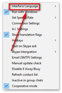 выбирайте пункт «Interface Language»